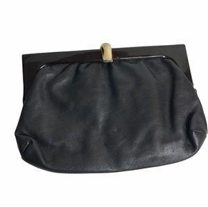 Vintage Black Leather Italian Clutch